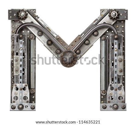 Industrial metal alphabet letter M - stock photo