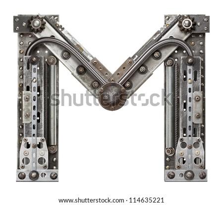 Industrial metal alphabet letter M - stock photo