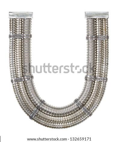 Industrial metal alphabet letter U - stock photo