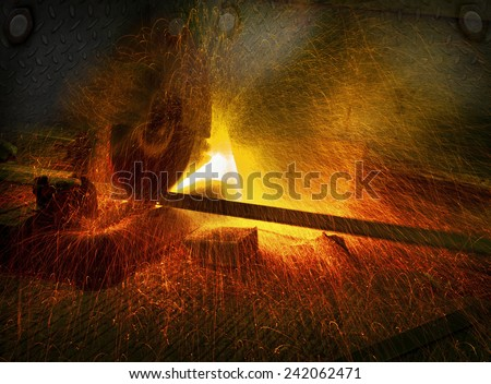 industrial metal cutting tool in iron factory shop working and cut on steel sheet against beautiful fire sparking  - stock photo