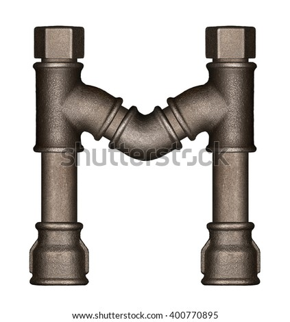 Industrial metal pipe alphabet letter M - stock photo