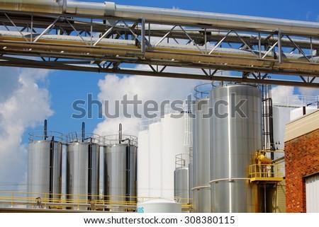 industrial milk plant - stock photo