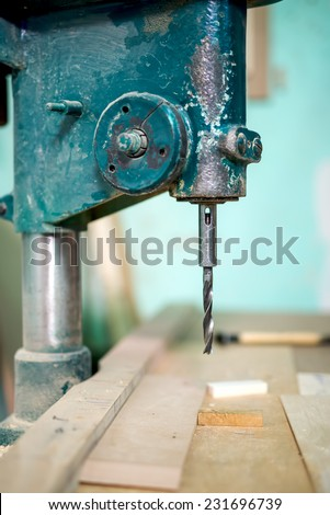 industrial milling tool, lathe and machinery at a local furniture and steel factory - stock photo