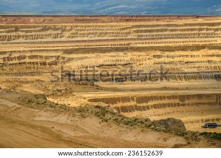 Industrial mining machine in the mine closeup - stock photo