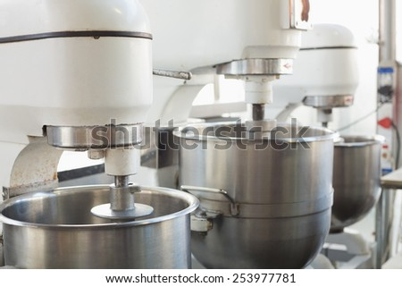 Industrial Mixers On Counter In The Kitchen Of The Bakery
