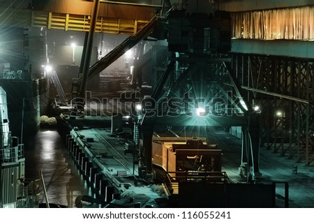 industrial night scene at the cargo port - stock photo