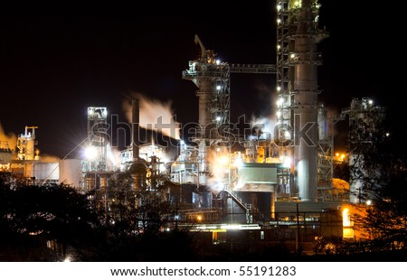 industrial night view - stock photo