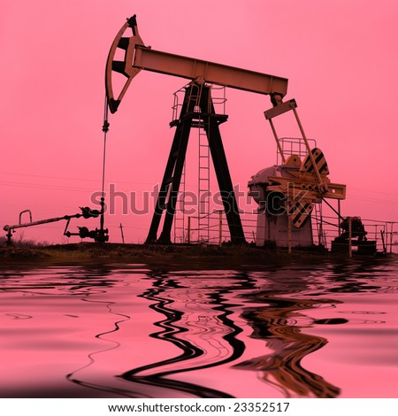 industrial oil pump with reflection - stock photo