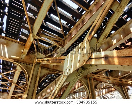 Industrial old weathered rusty steel girders - landscape color photo - stock photo