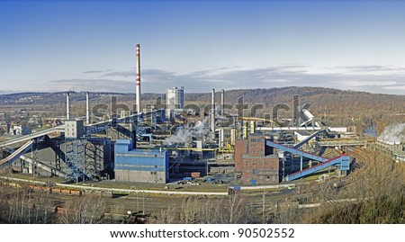Industrial Panorama Showing a Smoking Factory in Ostrava, Czech Republic