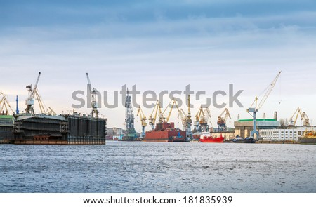 Industrial panorama with cranes and docks. Big Neva River in St.Petersburg, Russia