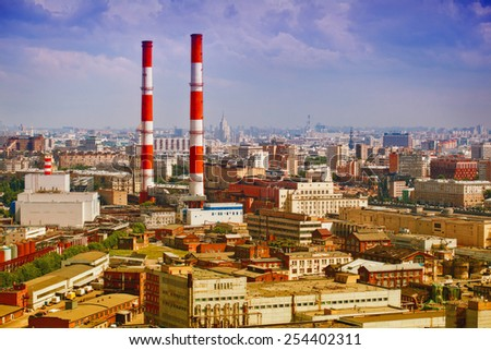 Industrial part of the city of Moscow - industrial architecture, plants, industrial pipes. - stock photo