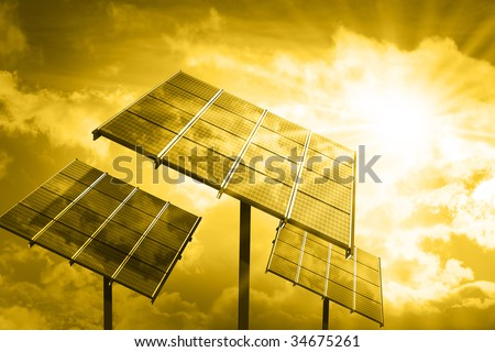 Industrial photovoltaic installation - stock photo