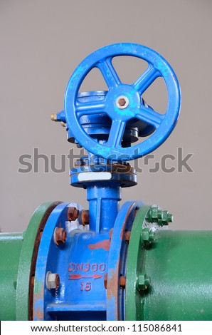 Industrial pipe and valve - stock photo