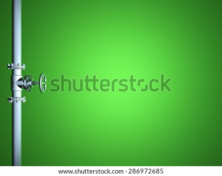 Industrial Pipe Valve on green background - stock photo