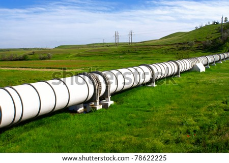 Industrial pipe with gas and oil - stock photo
