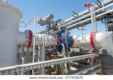 Industrial pipe with oil  - stock photo