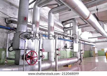 Industrial pipeline equipment of the factory  - stock photo