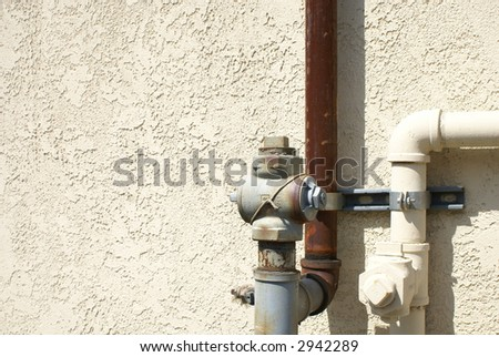 industrial pipes and meters copy space page background