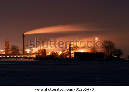 industrial pipes at the sea port - stock photo