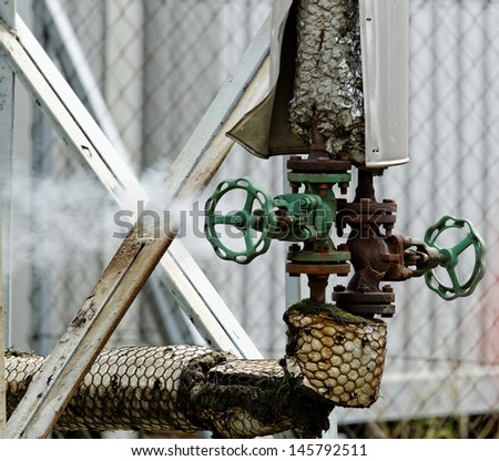 industrial pipes in a electricity power plant - stock photo