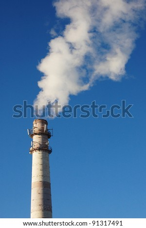industrial plant smoking chimney industry background