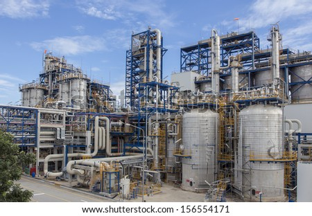 Industrial plant wit blue sky - stock photo