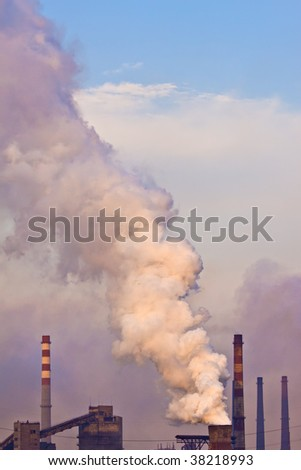 Industrial plant with smoke