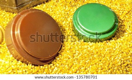 industrial plastic granules background - stock photo