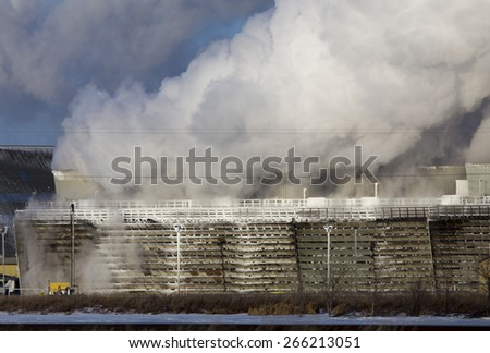 Industrial Pollution refinery in Saskatchewan Canada environment - stock photo
