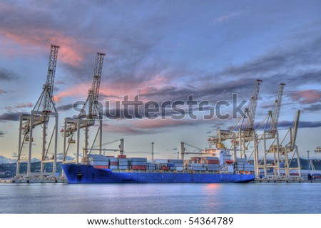 Industrial port in Koper - stock photo