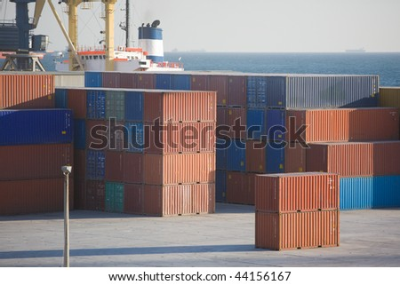 Industrial port in Novorossiysk, Russia - stock photo