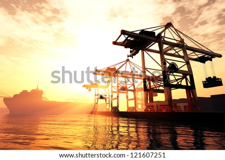 Industrial Port in sunset sunrise 3D render - stock photo