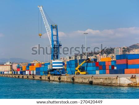 Industrial port of  genoa , italy - stock photo