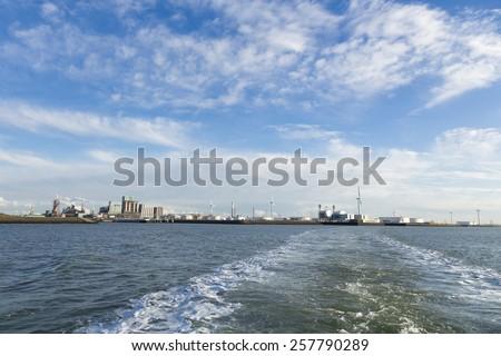 industrial port skyline - stock photo