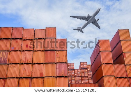 industrial port with containers and air - stock photo