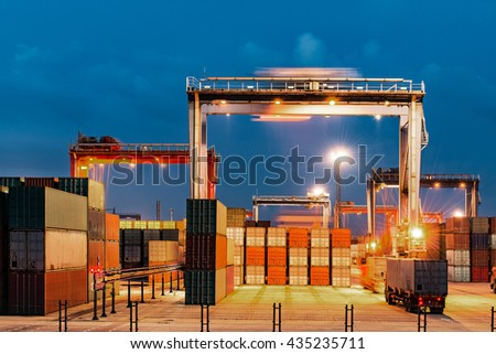 industrial port with containers in shanghai - stock photo
