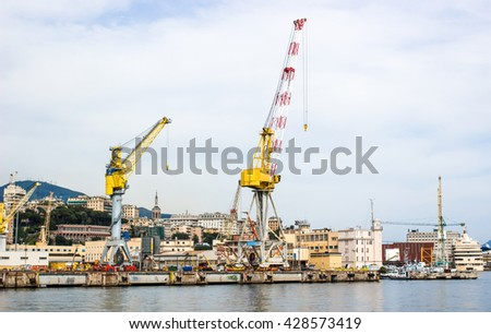 industrial port with containers / Trade Port / A big ship loading cargo at port / Cargo Cranes in Industrial Port / Container Cargo freight ship with working Import Export on white background  - stock photo
