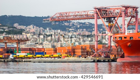 industrial port with containers / Trade Port / A big ship loading cargo at port / Cargo Cranes in Industrial Port / Container Cargo freight ship with working crane   Import Export / factory  - stock photo