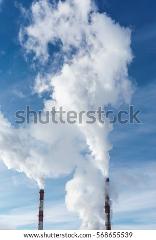 Industrial power plant with smokestack,Energy power station. Vertical image