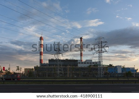 Industrial power plant with smokestack. Industrial landscape - stock photo