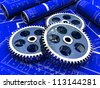 Industrial project of three gears over a new project - stock photo