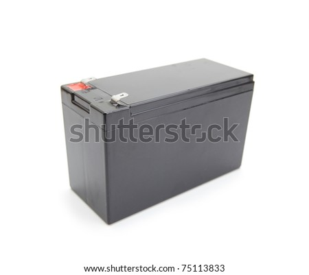 Industrial rechargeable battery unit isolated on white. - stock photo