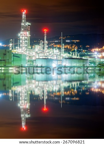 industrial refinery plant at night - stock photo