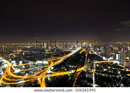 Industrial road at night in Bangkok, Thailand - stock photo