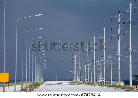 industrial road,shallow DOF. - stock photo