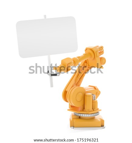 Industrial robot holding a blank sign board - stock photo