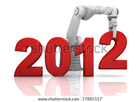 Industrial robotic arm building 2012 year isolated on white background - stock photo