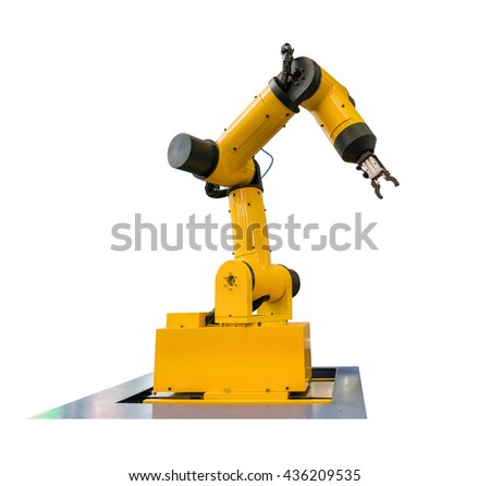 Industrial Robotic Arm Isolated On White - stock photo