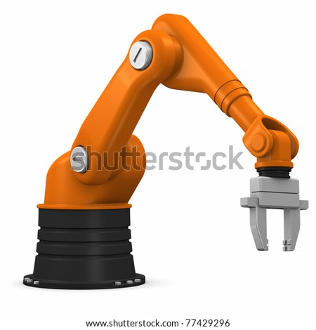 Industrial robotic arm isolated on white background - stock photo